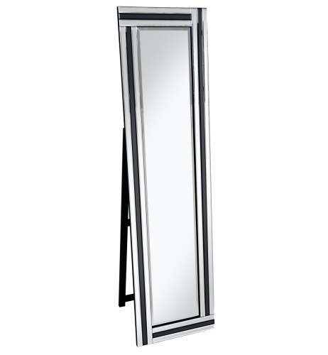 Black & Silver Border Bevelled Cheval Mirror 150cm x 40cm