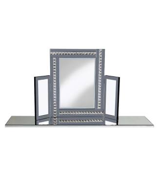 Crystal Border Tri Fold Mirror in Smoked Grey 78cm x 54cm