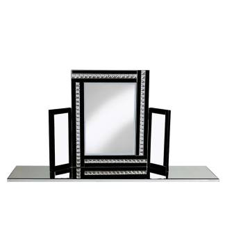 Crystal Border Tri Fold Mirror in Black 78cm x 54cm