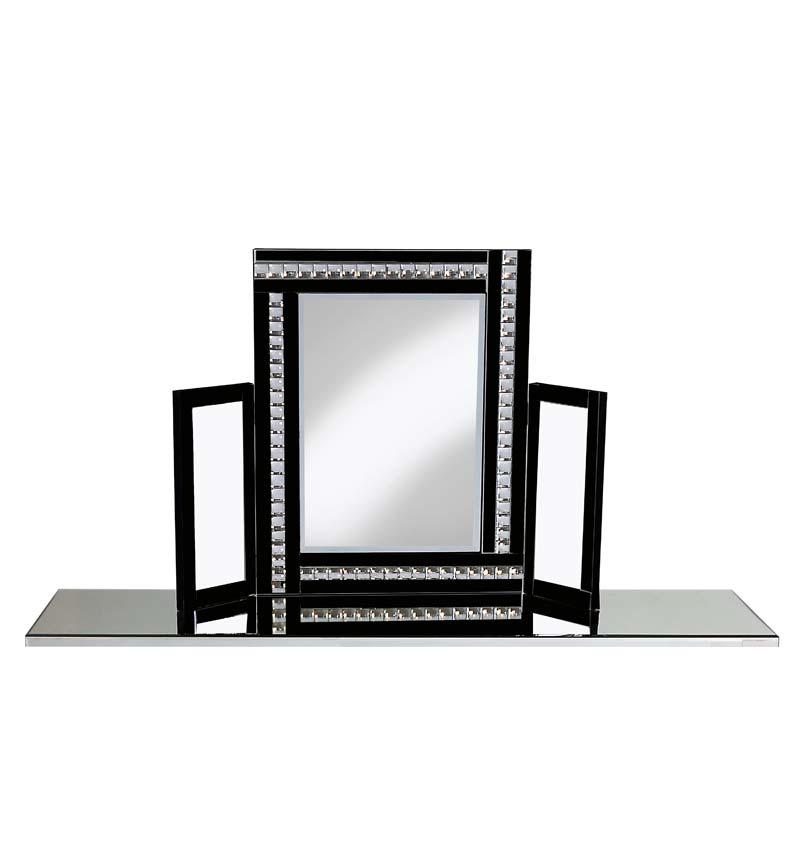 Jewel Tri Fold Mirror in Black 78cm x 54cm