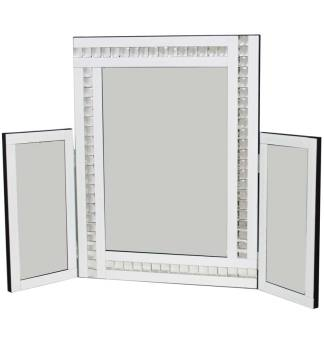 Crystal Border Tri Fold Mirror in White 78cm x 54cm
