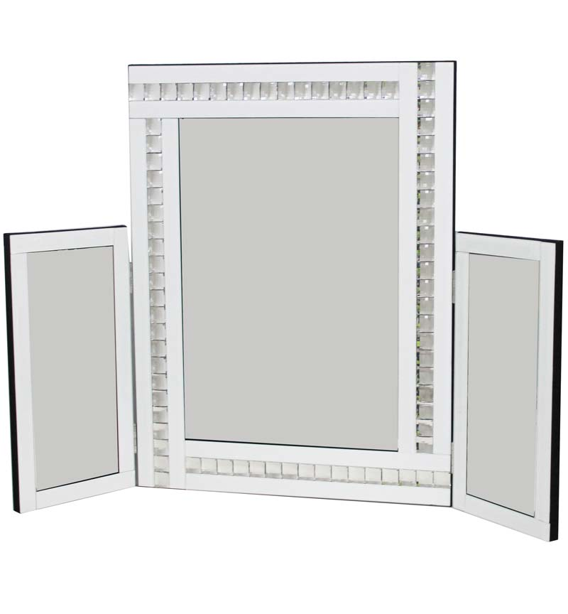 Jewel Tri Fold Mirror in White 78cm x 54cm
