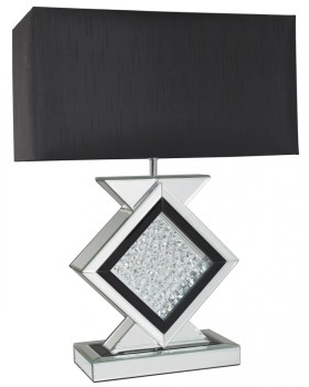 Floating Crystals Mirrored Lamp in Black & Silver