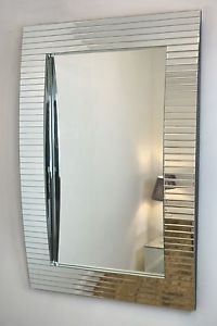 "Curved Bevelled Large Wall Mirror 55"" x 40"""