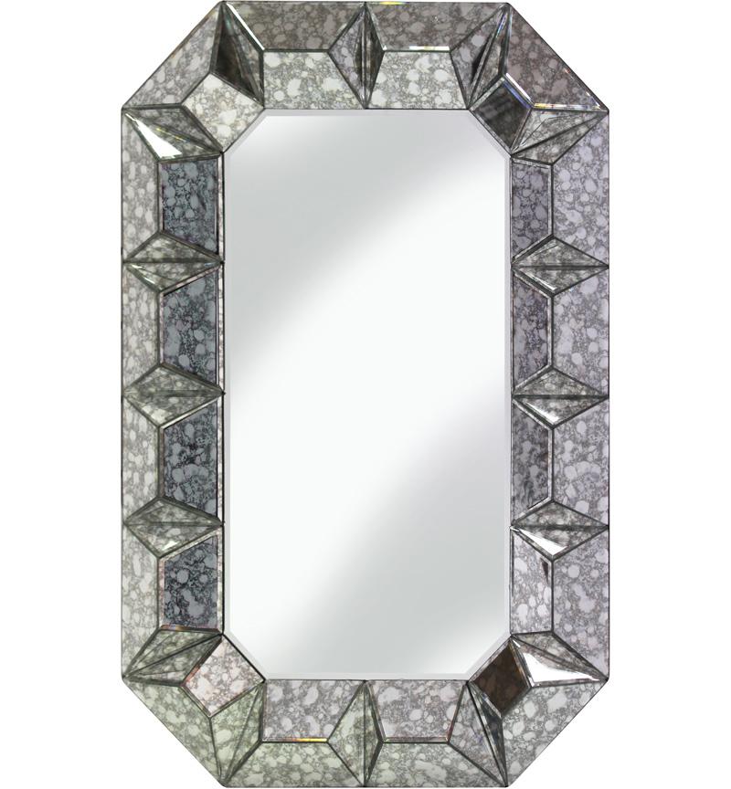 Multi Facet Silver Antiqued Bevelled Mirror 90cm x 60cm