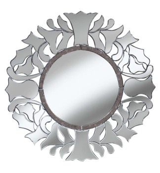 Brilliant Cut Antique Silver Mirror 90cm dia