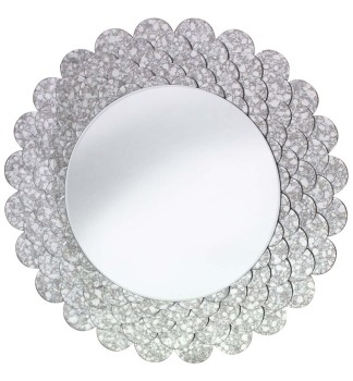 Decorative Round Mirror in Antiqued Silver 84cm dia