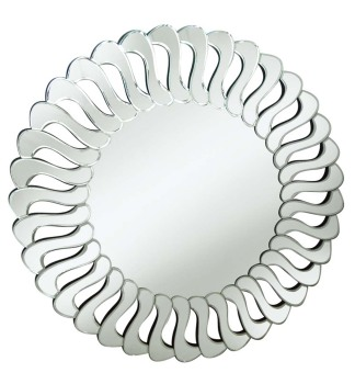 Decorative Art Mirror Silver 90cm dia