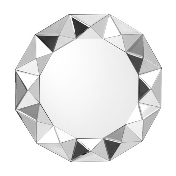 Multi faceted Round bevelled Mirror 80cm dia