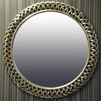 Ribbon Framed Decorative Round Mirror in Brushed Silver 122cm