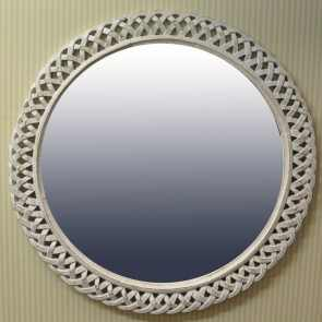 Ribbon Framed Decorative Round Mirror in Antiqued White 122cm