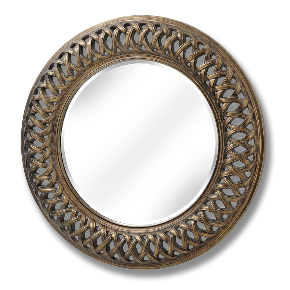 Ribbon Framed Decorative Round Mirror in Gold 122cm