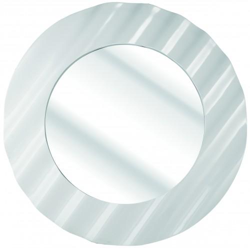 Ripple Gloss White Framed Mirror 118cm dia