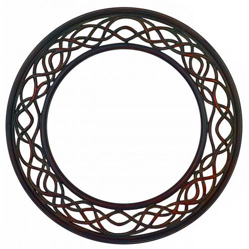 Weave Rustic Brown Framed Mirror 109cm dia
