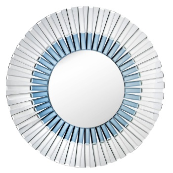 Round Venetian Bevelled Mirror in Silver & Blue 80cm dia