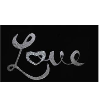 """Liquid Glitter """"LOVE"""" in Silver on a Black Bevelled Mirror 2 sizes"""