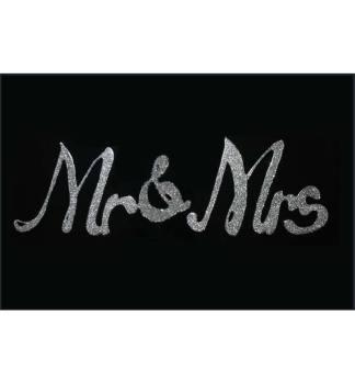 "Liquid Glitter ""Mr &Mrs"" in Silver on a Black Bevelled Mirror 100cm x 60cm"