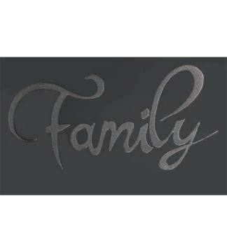 """Liquid Glitter """"Family"""" in Silver on a Smoked Bevelled Mirror 2 sizes"""