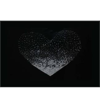 Liquid Glitter Cluster Heart in Silver on a Black Bevelled Mirror 100cm x 60cm