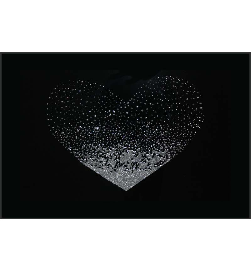 Liquid Glitter Cluster Heart in Silver on a Black Bevelled Mirror 100cm x 6