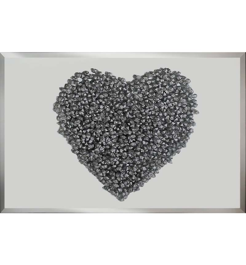 Love Heart Silver Clusters on Silver Bevelled Mirror 2 sizes
