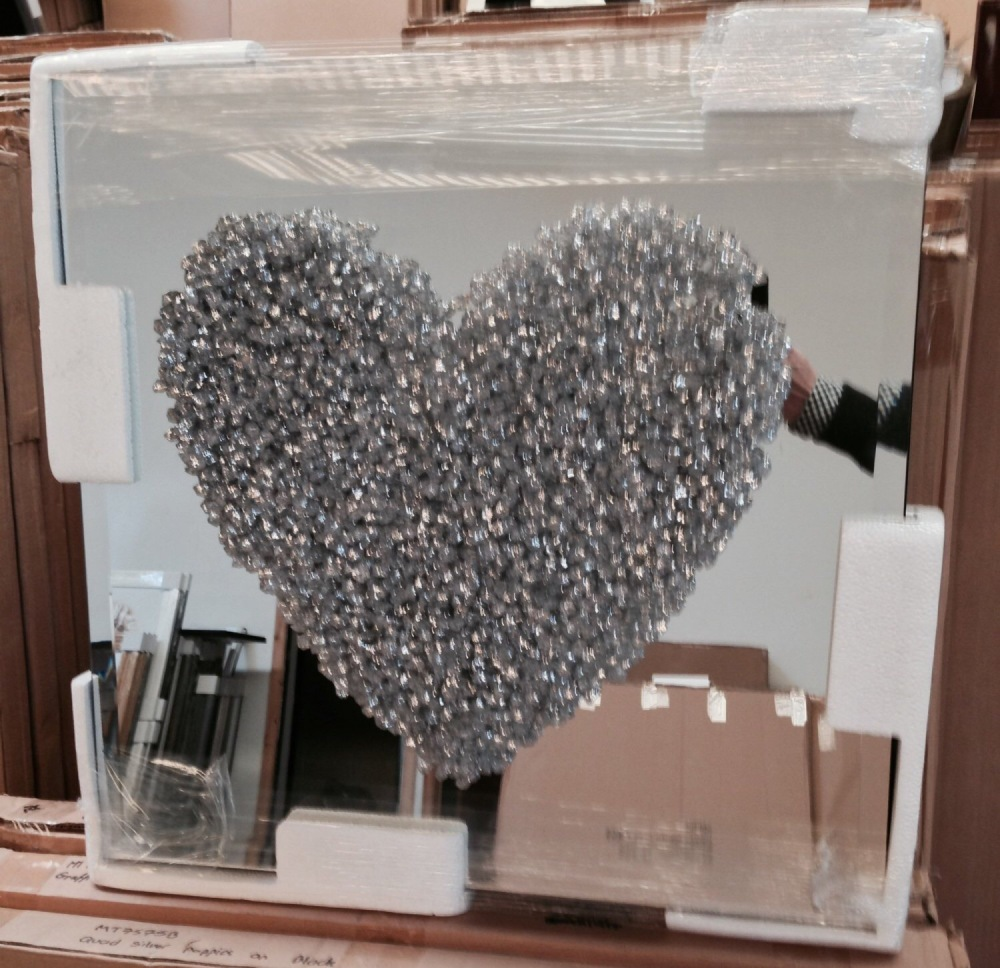 Love Heart Silver Clusters on Silver Bevelled Mirror 75cm x 75cm
