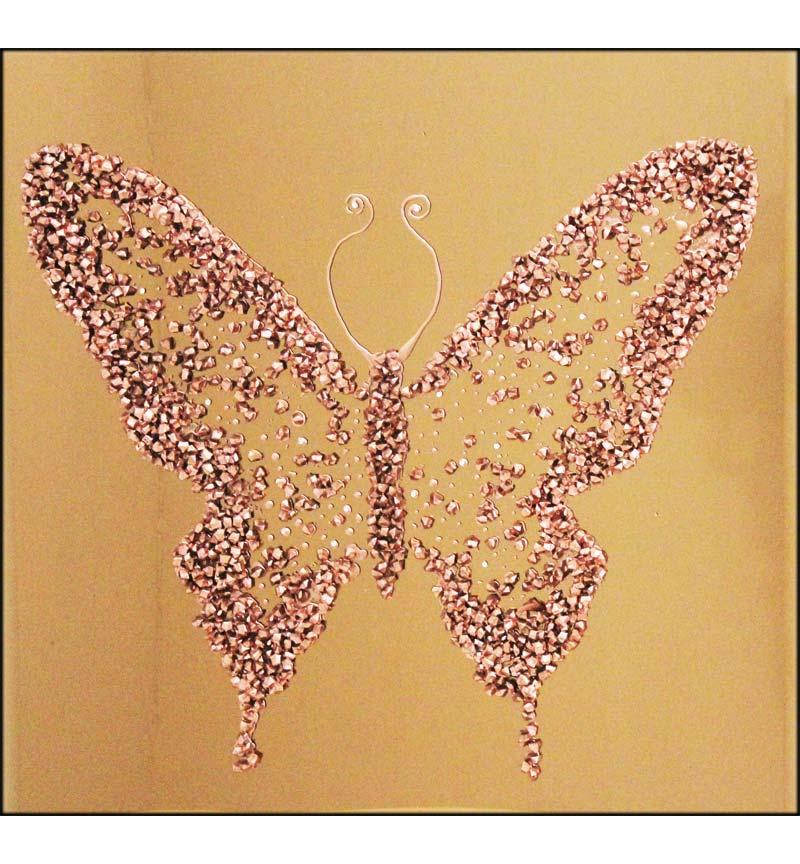 Abstract Butterfly Bronze Mirrored Wall Art 75cm x 75cm