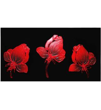 Liquid Glass Flowers in Red and Swarovski Crystals on a Black Mirror 120cm x 60cm