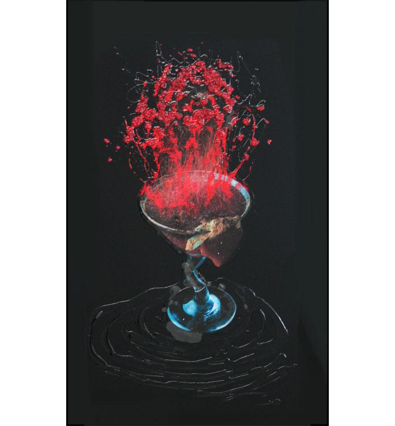 Abstract Wine Glass Design Crystal Sparkle Blck Wall Mirror 100cm x 60cm 3