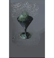 Abstract green Wine Glass Crystal Sparkle Smoked Grey Wall Mirror 100cm x 60cm