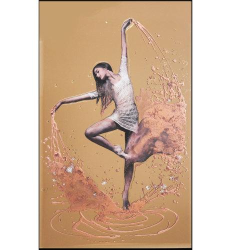 Abstract Dancer Design Crystal Sparkle Bronze Wall Mirror 100cm x 60cm