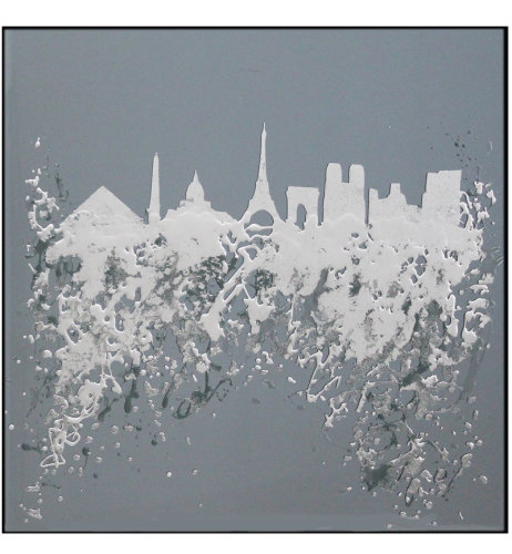 Abstract Paris Glass Design Crystal Sparkle Smoked Grey Wall Mirror 100cm x