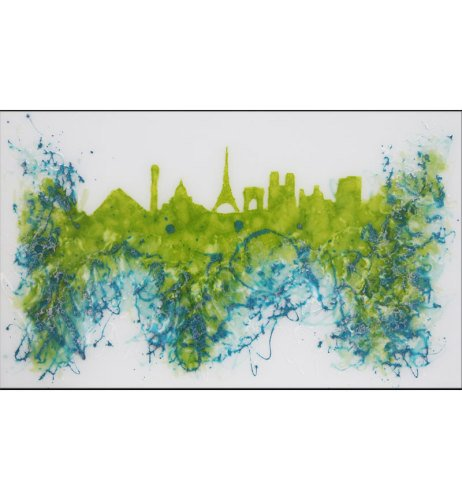 Abstract Paris Greens Glass Design Crystal Sparkle White Wall Mirror 100cm