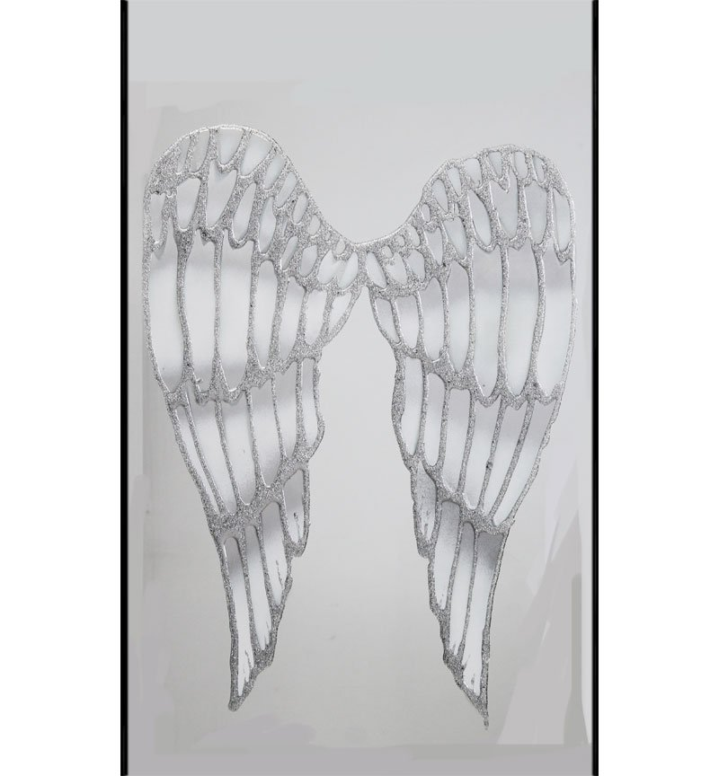 Abstract Angels Wings Silver Mirror 100cm x 60cm