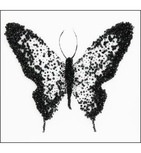 Abstract Butterfly Black - Silver Mirrored Wall Art 75cm x 75cm