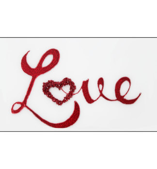 """Liquid Glitter """"LOVE"""" in Red on a Silver Bevelled Mirror 2 sizes"""