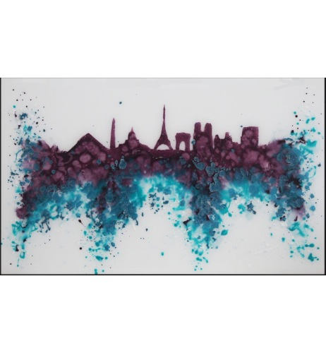 Abstract Paris Purples / Blues Glass Design Crystal Sparkle White Wall Mirr