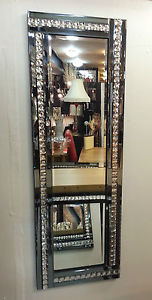 Frameless Bevelled Crystal Border Smoked Grey Mirror 120cm x 40cm