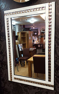 Frameless Bevelled Crystal Border White & Silver Mirror 80cm x 60cm