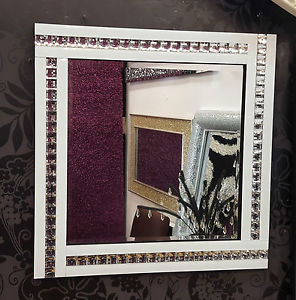 Frameless Bevelled Crystal Border White & Silver Mirror 60cm x 60cm