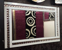 Frameless Bevelled Crystal Border White & Silver Mirror 120cm x 80cm