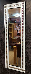 Frameless Bevelled Crystal Border White & Silver Mirror 120cm x 40cm