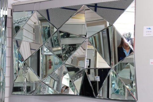 Multi Facet Prism Silver Bevelled Mirror 120cm x 80cm