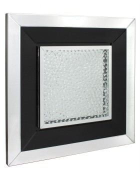 Floating Crystals Black & Silver Mirrored Art 60cm x 60cm