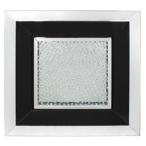 Floating Crystals Silver & Black Mirror Art  90cm x 90cm