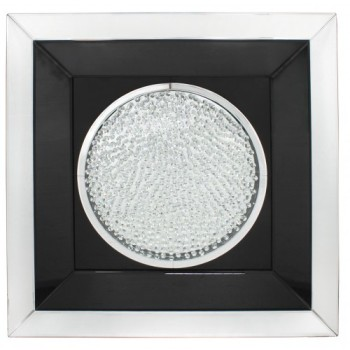 Floating Crystals Black & Silver Mirrored Art Round  90cm x 90cm
