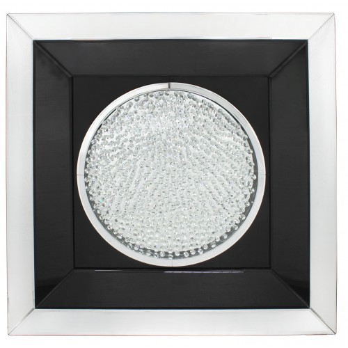 Floating Crystals Black & Silver Mirrored Art Round  90cm x 90cm