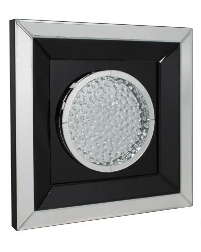 Floating Crystals Black & Silver Mirrored Art Round  60cm x 60cm