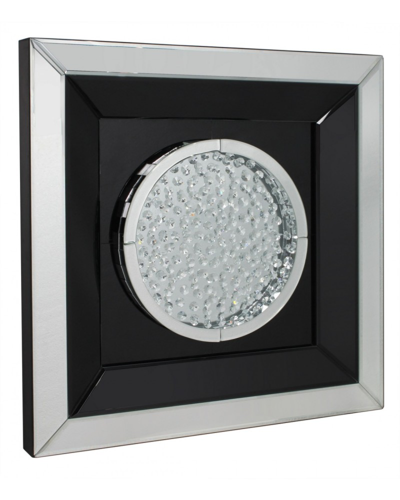 Floating Crystals Black & Silver Mirrored Art Round  60cm x 60cm
