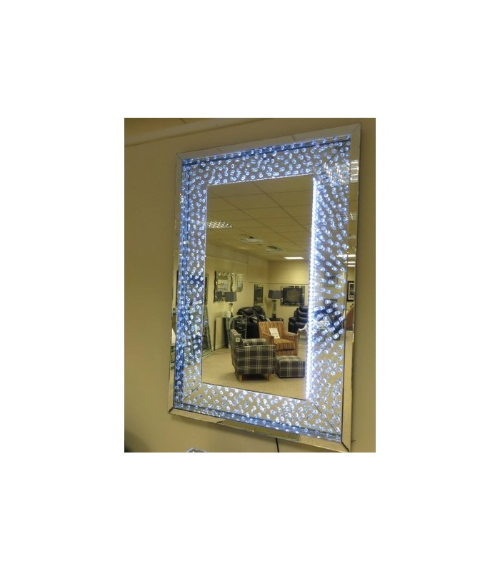 Floating Crystals Wall Mirror LED 120cm x 80cm Large